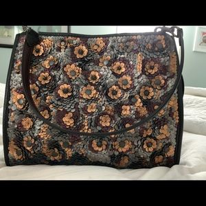 Coach Rogue Leather Sequined Handbag